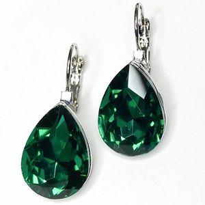 Jewelry - Silver Tone Emerald Green Crystal Earrings